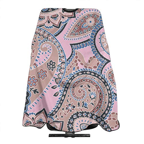 Haircut Barber Cape Cover Hair Apron,Paisley Sixties Hippie Swirl Tan Pink Hair Salon Cape with Snap Closure for Hair Cutting,Styling and Shampoo 55