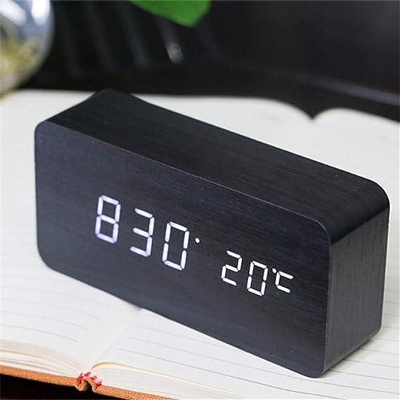 HEIRAO Nuevo Reloj Digital de Madera LED Creativo, Reloj Despertador electrónico de Madera, Reloj de sincronización de Silencio, Pantalla de Temperatura ...