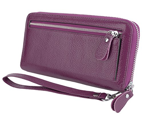 er RFID Security Zipper Wallet with Wristlet Strap for Card Passport Phone Purple ()