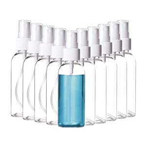 10Pack travel Small Spray Bottles - Fine Mist Clear 1.7oz with Pump Spray Cap Refillable Empty Plastic Bottles (10pack of 50ml / 1.7oz)