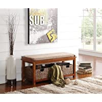 Transitional Entryway Bench with Basket and Top Cushion Made with Sea Grass, Microfiber, Foam and Solid Wood in Walnut Light Brown Finish 42L x 15W x 18H in.