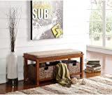 Transitional Entryway Bench with Basket and Top Cushion - Best Reviews Guide