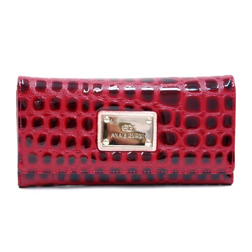 Anais Gvani Women's Classic Croco Embossed Checkbook Wallet -Red