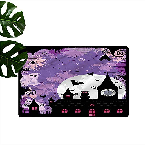 HOMEDD Outside Doormat,Vintage Halloween Towers and Bats,Machine-Washable/Non-Slip,31