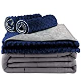Secura Everyday Luxury Premium Adult Weighted Blanket & Removable Blue Minky Cover & 2 Pillowcases (15 lbs 48 x 72 Twin Size, 100% Cotton Material with Glass Beads)