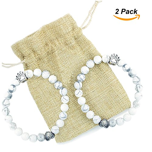 Pet Dog Cat Bracelet Gift- Paw Print Bangle, Great Charm Jewelry for Pet Lovers - Beautiful Christmas Gift for Pet Owners