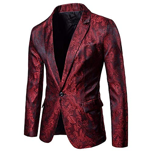 iLXHD Men's One Button Floral Notched Lapel Slim Fit Stylish Blazer Dress Suit from iLXHD