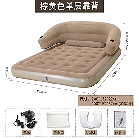 NVZJNDS Volver colchón inflable plegable doble cama inflable portable Inicio Aumentar engrosamiento Colchón inflable, de color amarillo pardo b almohada: ...