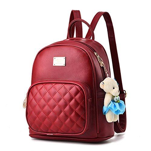 à rouge de Vin ornements Casual dos d'ours à des Flada pu en avec les sacs nounours sacs dos Sacs cuir d'école pour filles 7SnqxBggw