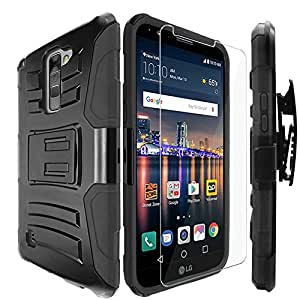 LG Stylo 2 Case,IDEA LINE INC(TM)Heavy Duty Armor Shock Proof Dual Layer Holster Locking Belt Swivel Clip with Kick Stand+Free Stylus Pen+Free HD Screen Protector(Black/Black)