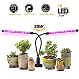 Plants Grow Light 20W Dual Head 38 LED 12 Dimmable Levels Timing Grow Lamp Bulbs with Blue/Full Spectrum, Adjustable Gooseneck for Indoor Plants Hydroponics Greenhouse