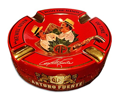 "Limited Edition Large 8.75"" Arturo Fuente Porcelain Cigar Ashtray Red"
