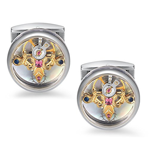 (Dich Creat Limited Edition 18K Gold PVD Emboss Tourbillon Cufflinks/Swarovski Crystals Inlay/Titanium/Covered with Sapphire Glass)
