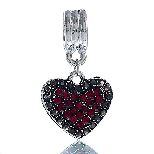 January Birthstone Heart Dark Red Rhinestone Dangle Charm for European Bracelets id-180