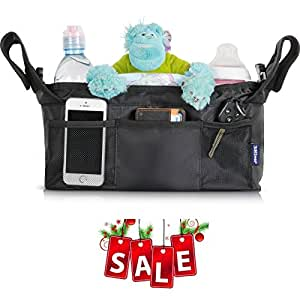 """SALE 3Niner Stroller Organizer Accessories Bag for smart moms, Free Gift Removable Shoulder Strap. Fit handles 13"""" - 21"""" wide. Extra Storage for Baby stuff. Two Deep Insulated Cup Holders"""