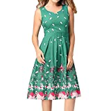 MY DRESS CODE Vintage 1950's Summer Floral Garden Party Picnic Dress Party Cocktail Dress for Women (Large, green)