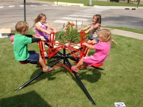 - Twirl Go Round Kids 4 Seater - Merry Go Round Teeter Totter - Black & Red