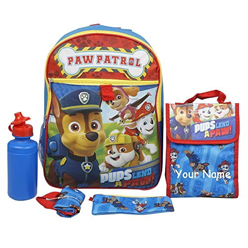 Personalized Nickelodeon Paw Patrol Rescue Dogs Character Backpack Book Bag Accessories and Lunch Bag with Water Bottle for Back to School - 5 Piece Set