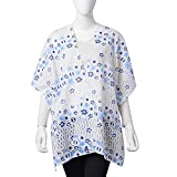 White, Baby Blue, and Navy 100% Polyester Floral Lace Pattern Swimsuit Cover-ups Kimono One Size