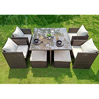 WEATHERPROOF Outdoor Patio 9 Piece Furniture Dining Set, All Weather Wicker