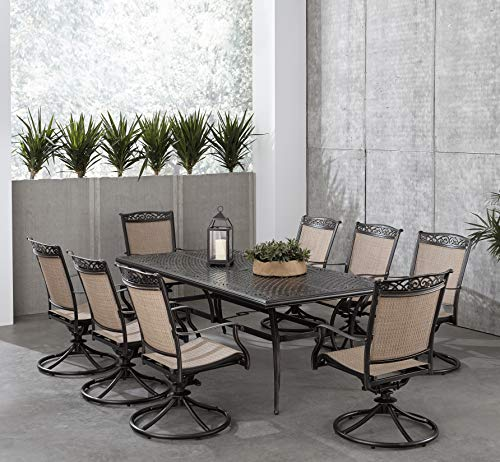 Hanover Fontana 9-Piece Dining Set with 8 Sling Swivel Rockers and a 42-in. x 84-in. Cast-Top Table, FNTDN9PCSWC Outdoor Furniture, Tan (Aluminum Sling Furniture Cast Patio)
