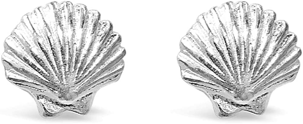 925 Solid Sterling Silver Tiny Sea Shell Stud Earrings, Mini Beach Ocean Animal Seashell Scallop Jewelry