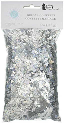 Darice VL84 Happily Ever After Bridal Confetti, 4-Ounce, Silver (Shiny Confetti)