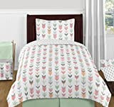 Sweet Jojo Designs 4-Piece Grey, Coral and Mint Woodland Arrow Print Girls Kids Twin Bedding Set