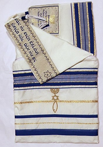 Messianic Tallits prayer Shawl Covenant Messianic tallit prayer shawl Tallit 72x22 inch.Blue messianic Jewish christian tallits with Hebrew wording from Israel Jerusalem