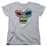 Sesame Street TV Show Cartoon Elmo Cookie Monster Oscar Womens T-Shirt Tee