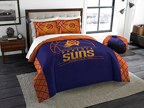 (Phoenix Suns - 3 Piece FULL / QUEEN SIZE Printed Comforter & Shams - Entire Set Includes: 1 Full / Queen Comforter (86