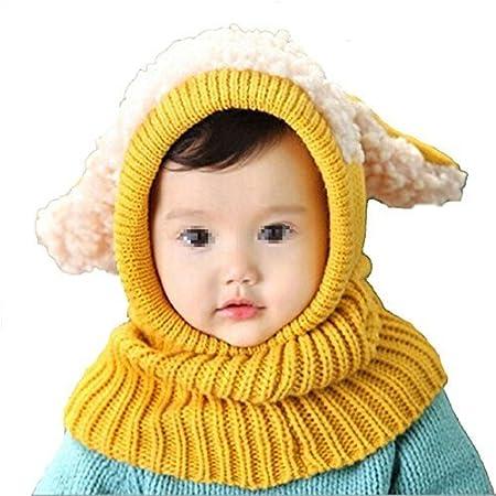 Butterme Invierno Bebé Niños Niño Cálido Gorro de Lana Capucha Bufanda Gorras de Punto Sombreros de Lana(Amarillo) ZUMUii HSL000013Y