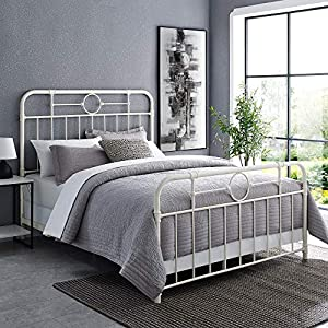 Walker Edison Rustic Farmhouse Wood and Metal Queen Metal Bed Headboard Footboard Bed Frame Bedroom Queen, White