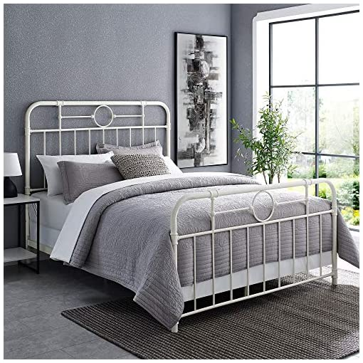Bedroom Walker Edison Vintage Metal Iron Pipe Queen Size Bed Headboard Bedroom Headboard Footboard Bed Frame Bedroom, Queen… farmhouse beds and bed frames