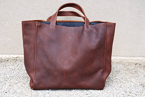 CAYENNE BROWN LEATHER TOTE / SHOPPER by NKHenry