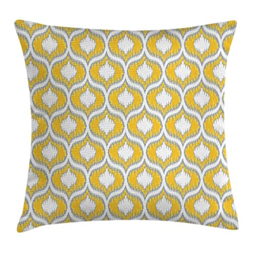 """Ambesonne Ikat Throw Pillow Cushion Cover, Abstract Style Exotic Ikat Chain Patterns Retro Cloud Design, Decorative Square Accent Pillow Case, 16"""" X 16"""", Yellow White"""