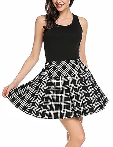 Zeagoo Women's Houndstooth Elastic Waist Plaid Pleated Mini Skater Tartan School Skirt Black m - Pleated Plaid Mini