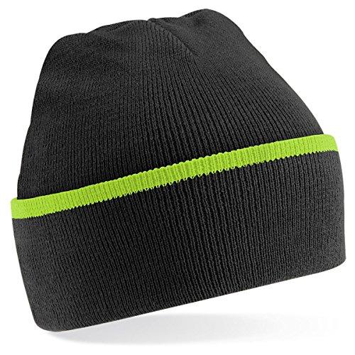 Beechfield - Gorro de punto para invierno estilo Beanie unisex Multicolore - Black/Lime