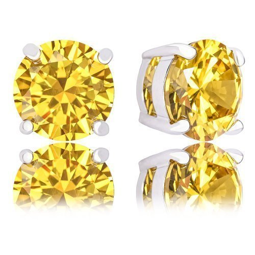 ORROUS & CO 18K Gold Plated Round Cubic Zirconia Solitaire Stud Earrings, Citrine