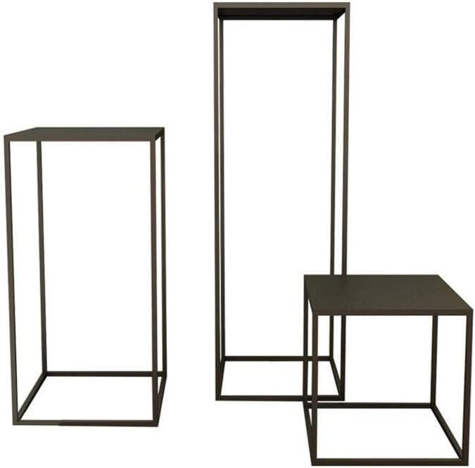 Goedkoopste Table XIAOYAN Set van 3 Nordic Moderne bloem Stand Interior woonkamer-decoratie rek voor balkon Storage (kleur: zwart) zwart Cnix4ZU