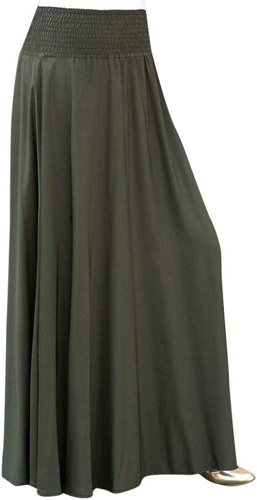Falda Mujer Larga Casual, Falda Plisada De Color SóLido De La Cintura De La Moda De Las Mujeres Faldas Largas Sueltas De Una LíNea De La Vendimia
