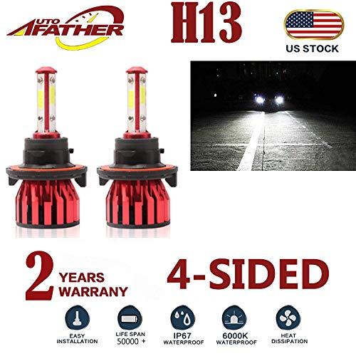 2Pcs H13 LED Headlight Bulbs Conversion Kit 9008 Car Headlamp Bulbs 20000LM 6000K Cool White Hi Lo Double Beam DRL Fog Light Replacement, with 4-Side Chips - Plug and Play ()