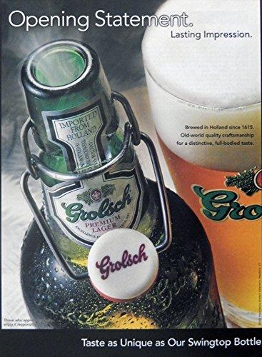 Grolsch Lager Beer, Vintage Print Ad. Color Illustration (opening statement) Original Magazine Art Grolsch Lager
