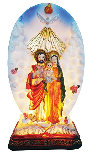 (9 Inch Holy Family with Light Home Decoration Lamp Decorative Votive Religious Light)