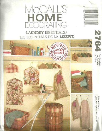 OOP McCall's Pattern 2784. Laundry Essentials: Ironing Board Cover; Hamper & Basket Liners; Laundry Bag; Hanging Organizer; Clothes Pin Bag; Etc ()
