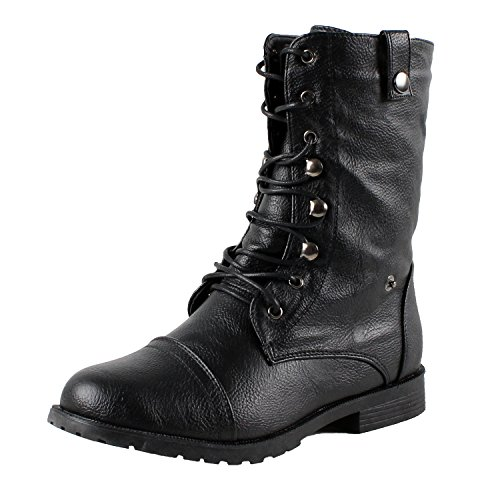 West Blvd Lagos-Combat Riding Boots, Black,