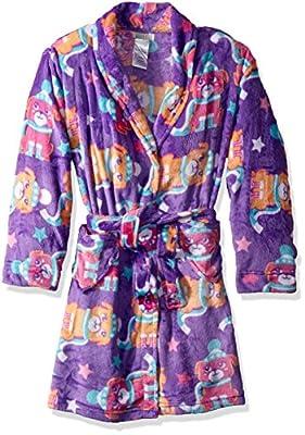 Komar Kids Big Girls' Winter Pup Velvet Fleece Robe