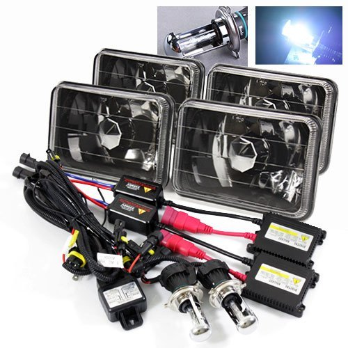 ModifyStreet 4PC 8000K Blueish White H4-3 Hi/Low Slim HID/4x6 H4651/H4652/H4656/H4666 Black Crystal Headlights Lamps - Kit Cutlass Monte Carlo
