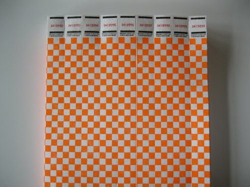 250 Neon Orange Checkered Consecutively Numbered Tyvek ()