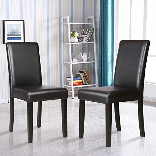 Set of 2 Kitchen Dinette Dining Room Chair Elegant Design Black Leather Backrest , Black (Aqua Stacking Chair)